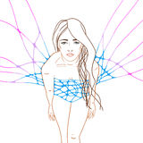Multicolor illustration with young woman Stock Photo