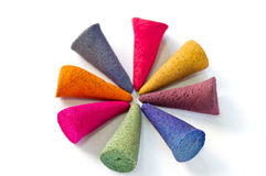 Multicolor Incense. Multicolor with fragrance incense for relaxation Stock Photo