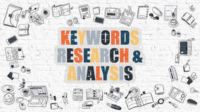 Multicolor Keywords Research and Analysis on White Brickwall. Keywords Research and Analysis - Multicolor Concept with Doodle Icons Around on White Brick Wall vector illustration