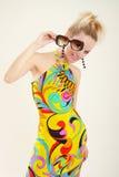 multicolor klänninglady Fotografering för Bildbyråer