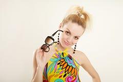 multicolor klänninglady Arkivbild