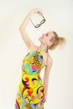 multicolor klänninglady Royaltyfri Fotografi