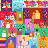 Multicolor kołderka z ślicznymi kreskówek ludźmi różni wieki, rasy, kwiaty, ptaki i patchworku wzór, royalty ilustracja