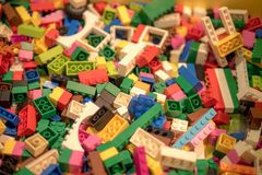 Multicolor Lego Blocks And Bricks, Colored Toy Bricks Background Stock Photography