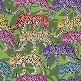 Multicolor leopard pattern seamless green leaves background Stock Photography