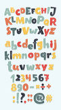 Multicolor letters set. Vector cartoon fun big set of alphabet letters, numbers. Hand drawn sign: addition, multiplication, subtraction, division, dot, dash Stock Images