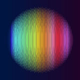 Multicolor lines in circle shape. Colorful lined circle. Illustration on black background. Not gradient royalty free illustration