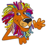 Multicolor lion. Portret of the lion with multicolor mane Stock Photo