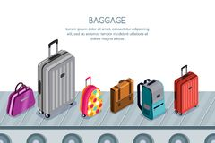 Luggage, suitcase, bags on conveyor belt. Vector 3d isometric illustration. Concept for checked baggage claim. Multicolor luggage, suitcase, bags on conveyor stock illustration