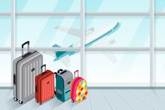 Multicolor luggage, suitcase, bags near the airport terminal window. Vector 3d isometric illustration. Takeoff airplane in window. Checked baggage, travel by Stock Photography