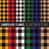 Multicolor Lumberjack Flannel Shirt Plaid Vector Patterns. Lumberjack Buffalo Check Plaid Vector Patterns in 6 Classic Men`s Flannel Shirt Colors. Trendy Hipster Stock Images