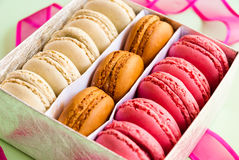 Multicolor macaroons in the silver gift box closeup Royalty Free Stock Photos