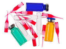 Multicolor medical ampoules Royalty Free Stock Images