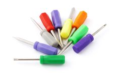 Multicolor mini screw drivers Stock Photo