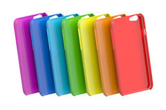 Multicolor Mobile Phone plastic cases. 3D rendering Royalty Free Stock Photography