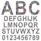 Multicolor mosaic font set. Multicolor rectangle mosaic textured font alphabet set Royalty Free Stock Photo