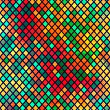 Multicolor mosaic seamless pattern with grunge effect Stock Images