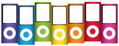 Multicolor mp3 music players Royalty Free Stock Photography
