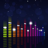 Multicolor Music Equalizer on Blue Background Royalty Free Stock Images