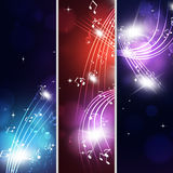 Multicolor Music Notes Banners Royalty Free Stock Photo