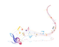 Multicolor musical note staff Royalty Free Stock Photography