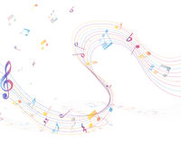 Multicolor musical note staff Stock Photos