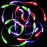 Multicolor neon swirling fen-fires abstract background Royalty Free Stock Photography