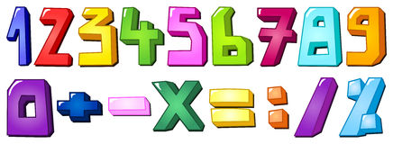 Multicolor numbers. Multicolor set of numbers and math signs Stock Photos
