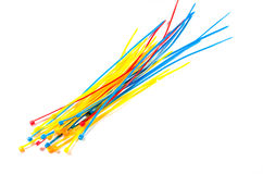 The Multicolor Nylon Cable Ties on white background. isolated Stock Photography
