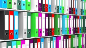 Multicolor office folders with blank label Stock Photography
