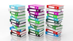 Multicolor office folders with blank label Royalty Free Stock Images
