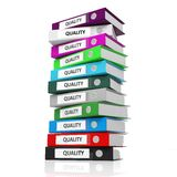 Multicolor office folders with label Quality Stock Image
