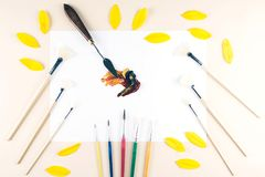 Multicolor oil paint brush strokes with knife. Stock Photo