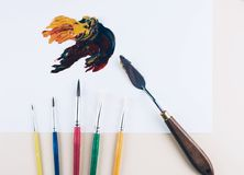 Multicolor oil paint brush strokes with knife. Stock Images