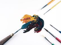 Multicolor oil paint brush strokes with knife. Royalty Free Stock Photography