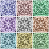 Multicolor ornamental tiles collage Royalty Free Stock Images