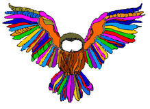 Multicolor owl on white background Stock Photo