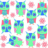 Multicolor  owls seamless pattern and seamless pattern in swatch. Menu, vector  image. Cute texture for different design Royalty Free Stock Photo