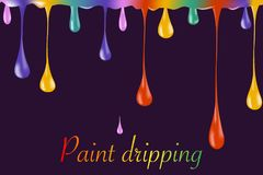 Multicolor paint dripping on background. Stylish acrylic liquid layered colorful painting concept. Stylish acrylic liquid layered colorful painting concept Stock Image