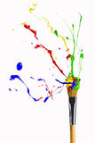 Multicolor paint levitate around forefinger Royalty Free Stock Photos