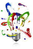 Paint orbit around painted light bulb Royalty Free Stock Photography