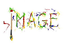 Multicolor paint painted word image Royalty Free Stock Photo