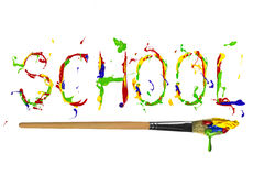 Multicolor paint painted word school Royalty Free Stock Photography