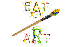 Multicolor paint slogan and paintbrush Royalty Free Stock Photo