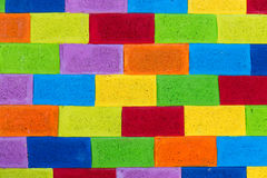 Multicolor painted brick wall texture Royalty Free Stock Photos