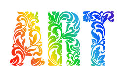Multicolor painted word ART. Decorative Font with swirls and flo. Ral elements Royalty Free Stock Image