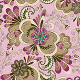 Multicolor paisley with flowers and curls Stock Photos