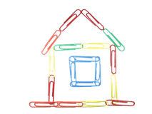 Multicolor Paper clip house concept isolated Stock Photography
