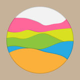 Multicolor paper layers. Paper layer curve wave shape cut style isolated inside round hole Royalty Free Stock Image