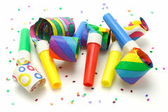 Multicolor party blowers Royalty Free Stock Photo